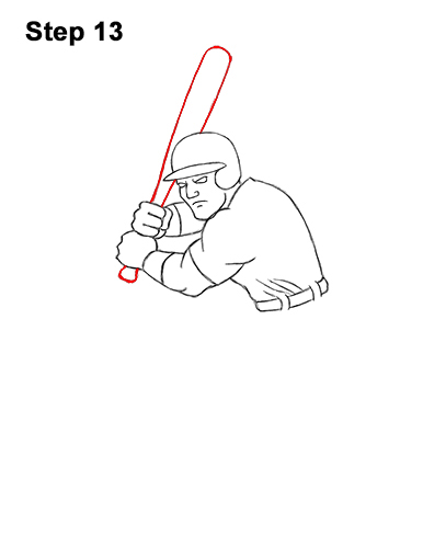How to a Draw Cartoon Baseball Player Batter 13