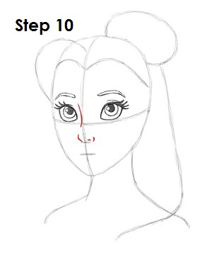 How to Draw Belle Step 10
