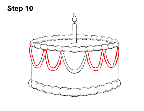 How to Draw Cartoon Birthday Cake Candle 10