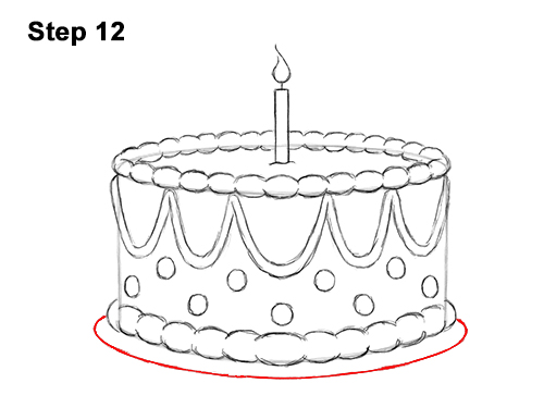How to Draw Cartoon Birthday Cake Candle 12