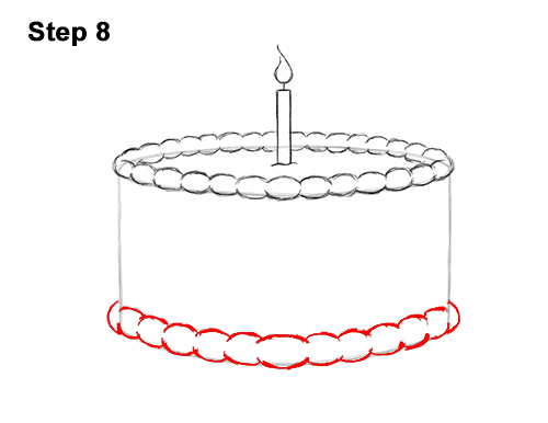 How to Draw Cartoon Birthday Cake Candle 8