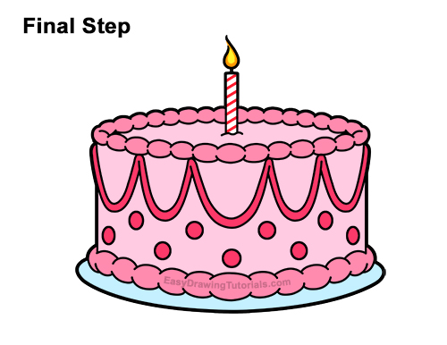 How to Draw Cartoon Birthday Cake Candle Pink