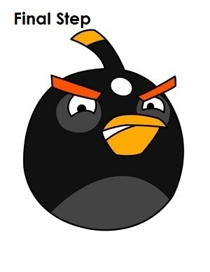 Draw Black Angry Bird Completed Drawing