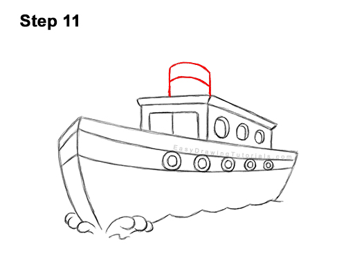 How to Draw Cartoon Boat Ship 11