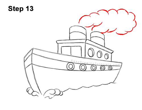 How to Draw Cartoon Boat Ship 13