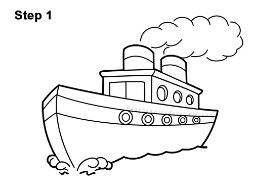 How to Draw Cartoon Boat Ship 14