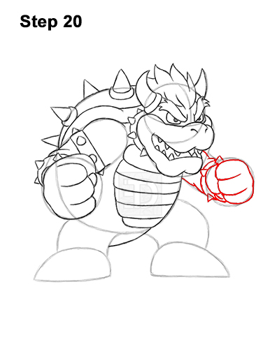 How to Draw Bowser Super Mario Nintendo Full Body 20