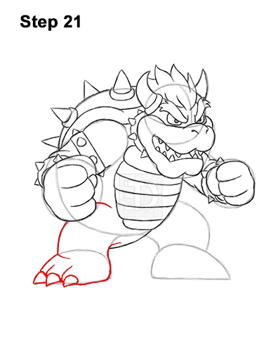 How to Draw Bowser Super Mario Nintendo Full Body 21