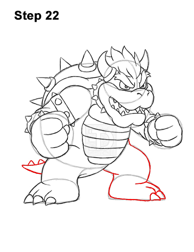 How to Draw Bowser Super Mario Nintendo Full Body 22
