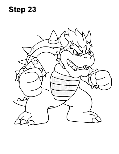 How to Draw Bowser Super Mario Nintendo Full Body 23