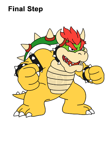 How to Draw Bowser Super Mario Nintendo Full Body