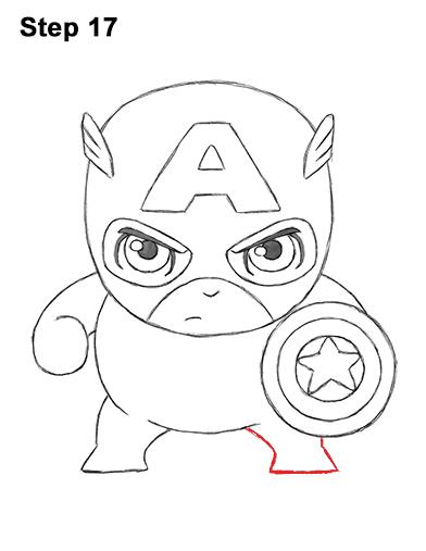 Draw Mini Chibi Little Captain America 17