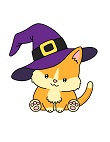 How to Draw Cute Cat Witch Hat Halloween Chibi Kawaii