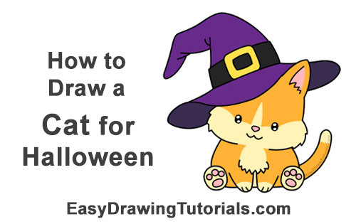 How to Draw Cute Cartoon Cat Kitten Witch Hat Halloween