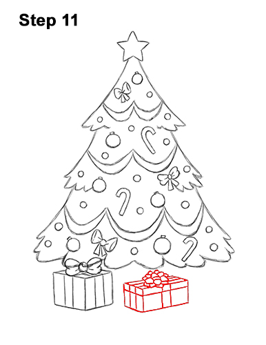 How to Draw Cartoon Christmas Tree with Presents 11