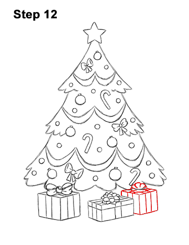 How to Draw Cartoon Christmas Tree with Presents 12