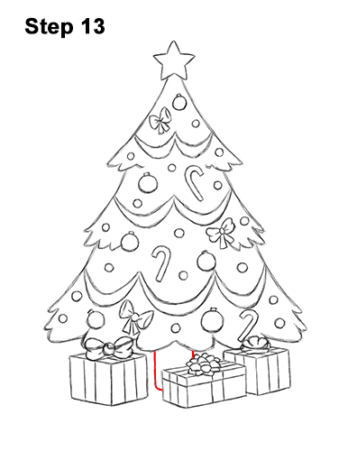 How to Draw Cartoon Christmas Tree with Presents 13