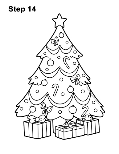 How to Draw Cartoon Christmas Tree with Presents 14