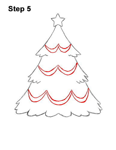 How to Draw Cartoon Christmas Tree with Presents 5