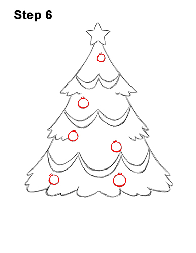 How to Draw Cartoon Christmas Tree with Presents 6