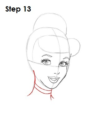 How to Draw Cinderella Step 13
