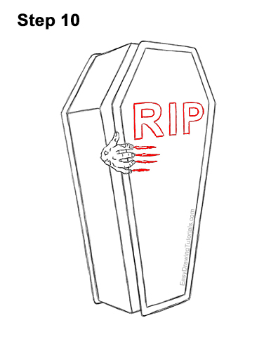 How to Draw a Coffin Zombie Hand Halloween 10