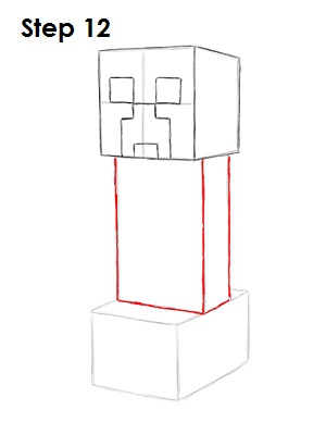 Draw Minecraft Creeper 12