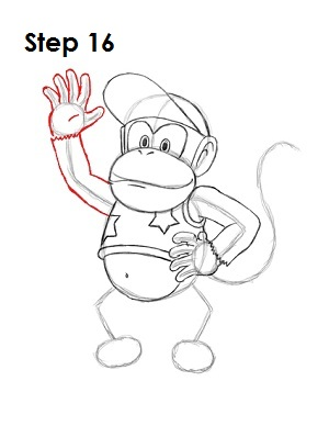 How to Draw Diddy Kong Step 16
