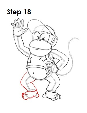 How to Draw Diddy Kong Step 18