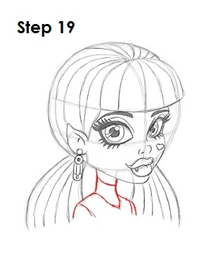 How to Draw Draculaura Step 19