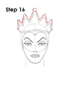 How to Draw Evil Queen Step 16