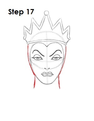 How to Draw Evil Queen Step 17