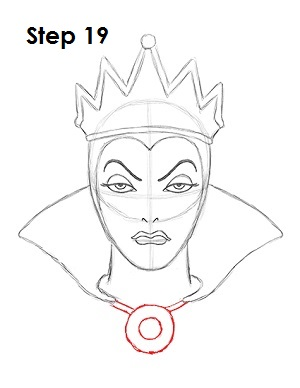 How to Draw Evil Queen Step 19
