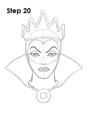 How to Draw Evil Queen Step 20