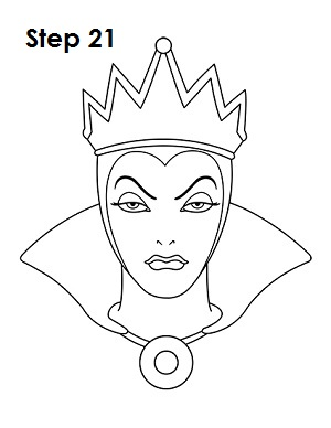 How to Draw Evil Queen Step 21