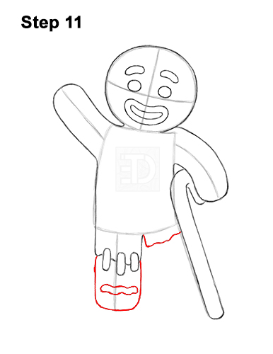 How to Draw Gingerbread Man Shrek Candy Cane 11