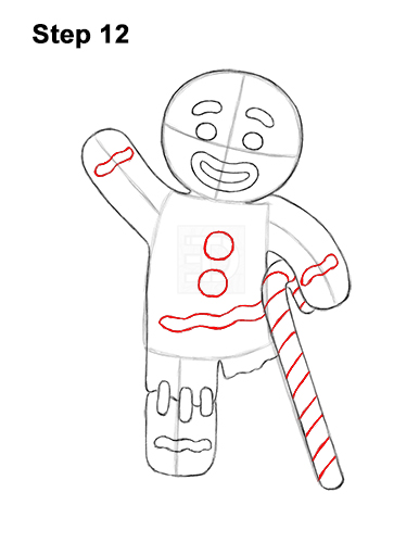 How to Draw Gingerbread Man Shrek Candy Cane 12