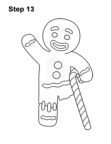 How to Draw Gingerbread Man Shrek Candy Cane 13