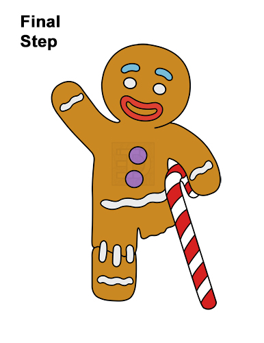 How to Draw Gingerbread Man Shrek Candy Cane