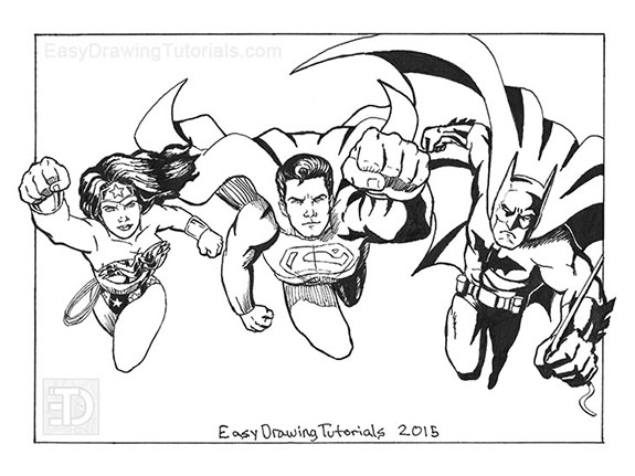 Wonder Woman Superman Batman Inks