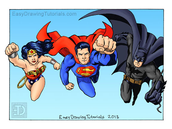 Wonder Woman Superman Batman Drawing Color
