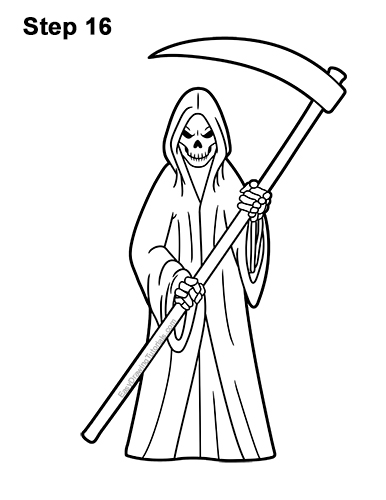 How to Draw Scary Halloween Grim Reaper Scythe Skeleton 16