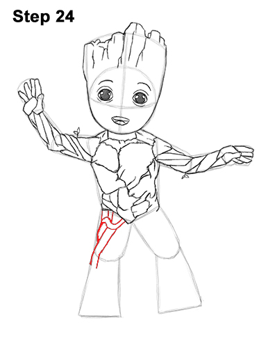 How to Draw Baby Groot Full Body Guardians of the Galaxy 24