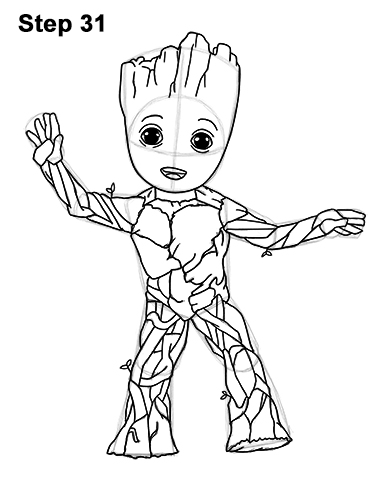 How to Draw Baby Groot Full Body Guardians of the Galaxy 31