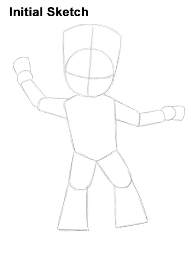 How to Draw Baby Groot Full Body Guardians of the Galaxy Initial Sketch