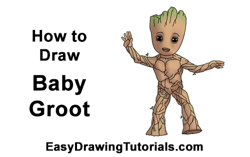 How to Draw Baby Groot Full Body Guardians of the Galaxy