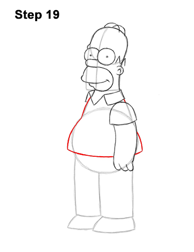 How to Draw Homer Simpson Full Body 19