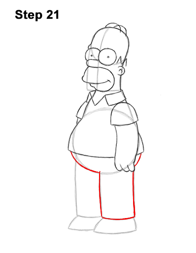 How to Draw Homer Simpson Full Body 21