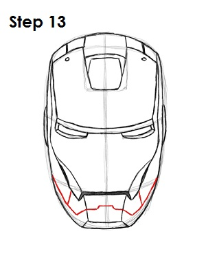 How to Draw Iron Man Step 13