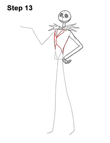 How to Draw Jack Skellington Nightmare Before Christmas Full Body 13